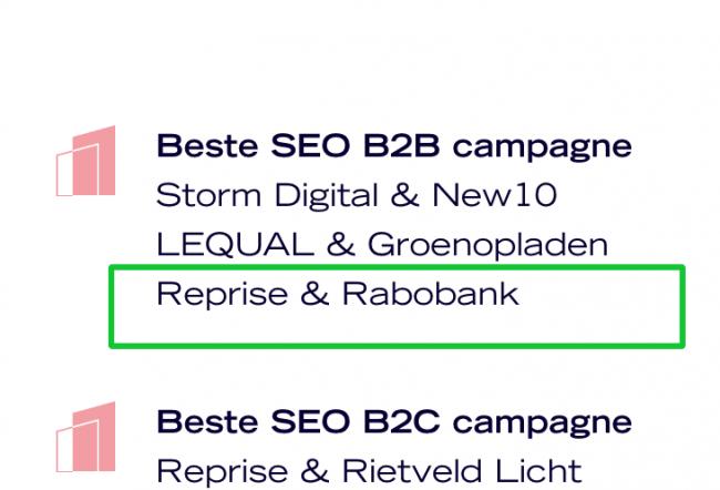Nominatie Dutch Search Award 2020